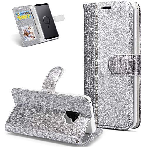 Huphant kompatibel mit Samsung Galaxy S9 Handyhülle Glitzer Leder Hülle Wallet Flip Schutzhülle Tasche mit Samsung Galaxy S9 Kartenfach Geldklammer Ständer Kartenfächer Magnet -Diamant silber