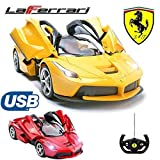 Comtechlogic CM-2206 Offiziell Lizenziert 1:14 Ferrari LaFerrari Ferngesteuert RC USB Elektroauto mit Fernbedienung Eröffnung Türen- Bereit Zum Rennen EP RTR - Gelb