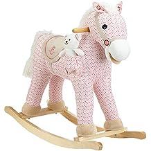 Milly Mally 5901761122213–Mecedora Caballo Balancín de juguete con efectos de sonido oso de peluche, color blanco