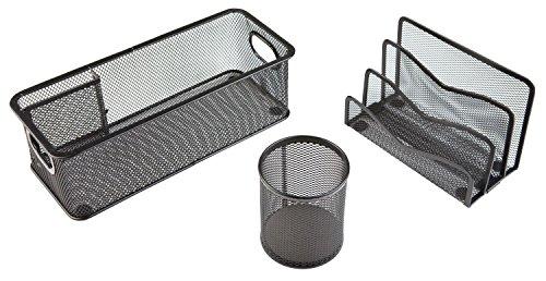 Schwarz 3-teiliges Set (Idena 354019 Büro-Set (Utensilienbox, Köcher und Briefständer, 3-teilig) schwarz)