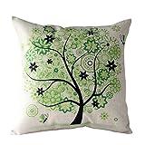 Ouneed Home Decor Pillow Case, Rural Fresh Cartoon Flower Tree Pillow Case Sofa Waist Throw Cushion Cover (Green)