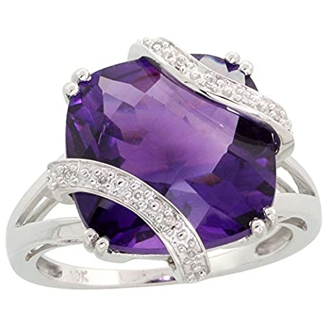 Revoni Femme 9carats (375/1000) or blanc 375/1000 (9 cts) Carré Rond brillant Diamant Amethyst FINERING