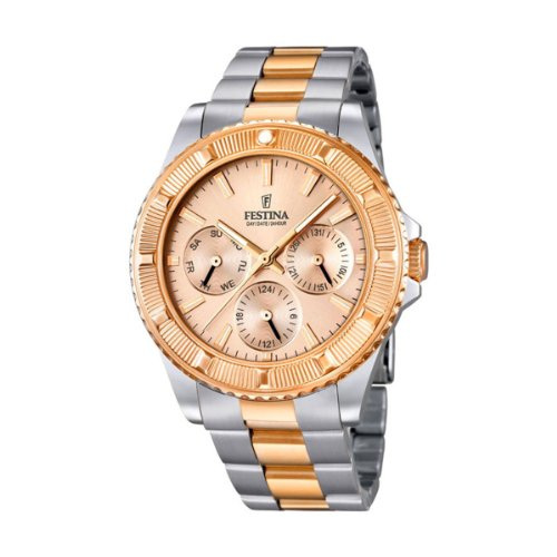 Festina Unisex Quartz Watch with Rose Gold Dial Analogue Display and Two Tone Stainless Steel Bracelet F16692/2