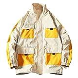 Lässige einfarbige dünne Herrenjacke Herren Herbst Lässige Mode Reine Farbe Patchwork Dünne Jacke Reißverschluss Mantel Tops