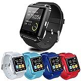 Smartwatch, Bluetooth Smart Watch U8mit Stoppuhr SMS Anruf für iOS Android iPhone Samsung, Schwarz