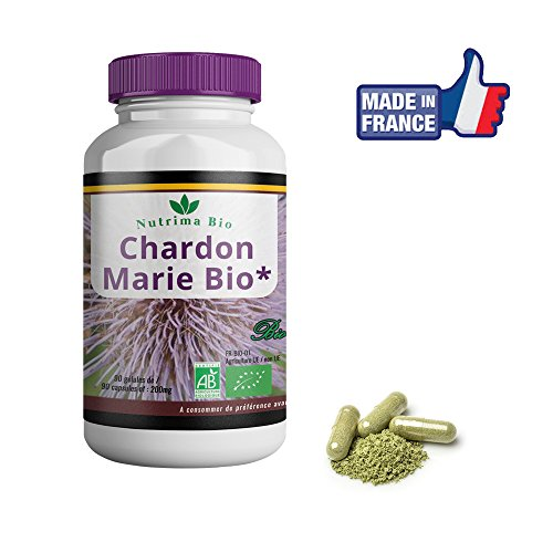 Chardon-Marie Bio 90 gélules de Nutrima Bio– Extrait à 80% de Silymarine - Soulage le transit intestinal –Efficace en quelques jours–Chardon marie 200mg pour soulager le foie et la digestion