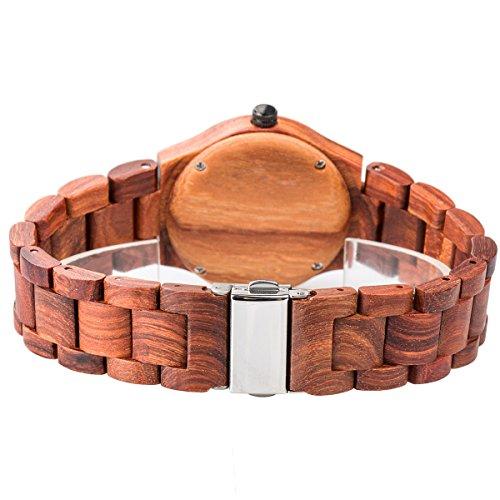 Alienwork Damen-Armbanduhr Quarz rot mit Holz-Armband Rose-Gold Holzuhr Natur-Holz - 4