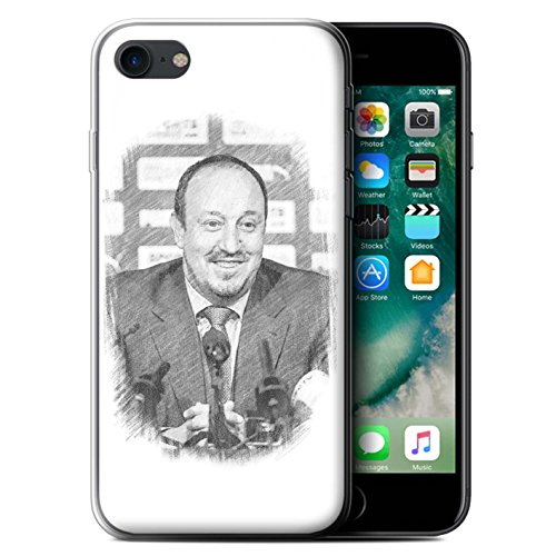 Offiziell Newcastle United FC Hülle / Gel TPU Case für Apple iPhone 7 / Montage Muster / NUFC Rafa Benítez Kollektion Skizze