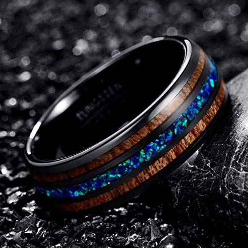 NUNCAD 8mm Wedding Band Opal and Hawaii Koa Wood Tungsten Ring Beveled Edges Size Z+1