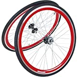 28 Zoll 700C Viking Laufradsatz mit Reifen Vorne + Hinten Fixie Singlespeed Hochflansch Fixed Gear Wheel, Farbe Vorderrad:Rot, Farbe Hinterrad:Rot