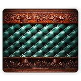 Alfombrilla de ratón Victoriana, Adorno de Madera en el sofá Cama de Cuero, cabecera, Panel, Placa de moldeo de Madera, Alfombrilla de ratón, Verde Azulado, Naranja Oscuro
