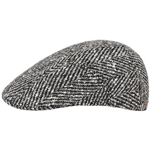 Stetson Herringbone Ivy Flatcap Schirmmütze Cap Wintercap Wintermütze Wollcap Schiebermütze Schirmmütze Wintercap (55 cm - schwarz-grau) (Cap Stetson Baumwolle Ivy)