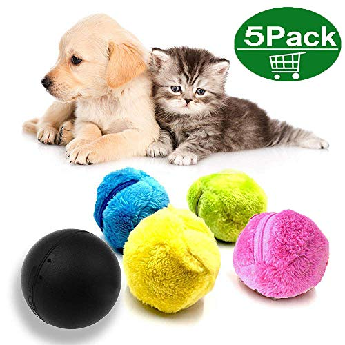 Magic Roller Ball, Haustier-elektrischer Spielzeug-Ball, 2-in-1-Funktion Pet Electric Toy Ball mit 4 Wollbezug für Hundekatze Pet, Mikrofaser-Moppball