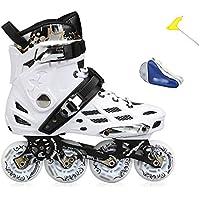 ZCRFY Skate Patines Adultos Patines para Adultos Y Hombres Patines Planos De Una Sola Fila En Línea,WhiteA-38