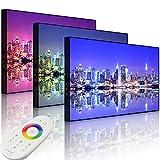 Lightbox-Multicolor | Bild mit LED Hintergrundbeleuchtung | Manhattan Skyline Spiegelung | 60x40 cm | Front Lighted