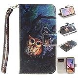 Skytar Galaxy S6 Hülle Case - Slim Case Cover PU Leder Brieftasche Schutzhülle für Samsung Galaxy S6 / SM-G920F Hülle Handytasche Etui mit Support-Funktion & Lanyard,Ölgemälde-Eule