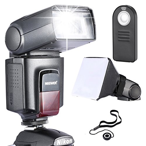 Neewer TT560 Speedlite Blitzgerät Kit für Canon Nikon Sony Pentax DSLR Kameras mit Standard Hot Shoe Inkl: 1x TT560 Blitzgerät+1xFernbedingung + 1x Universal klappbarer Flash Diffusor + 1x Objektiv Deckel Halter Hot-shoe-kamera