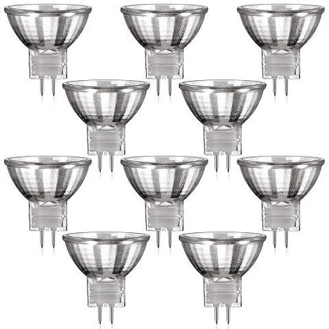 10er Set MR11 Halogen Strahler mit GU4 Sockel (warm-weiß, 12 Volt AC, 35 Watt, Lampe, Leuchtmittel, Haushaltspack, 12V, 35W)