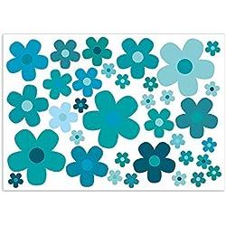 Juego de pegatinas de flores azules, tamaño del arco: DIN A4, para bicicleta, portátil, teléfono móvil, vehículo, impermeable