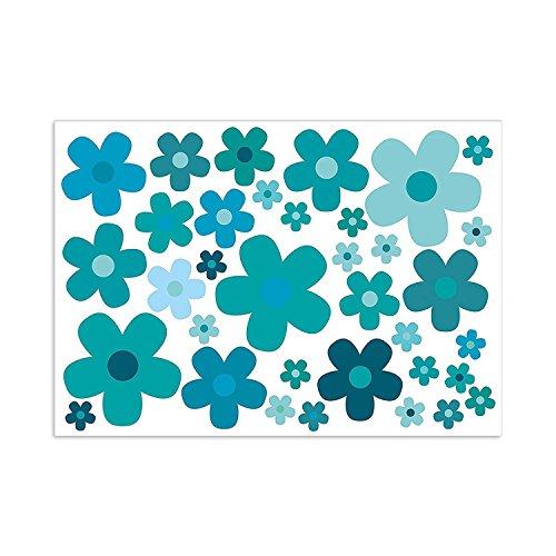 easydruck24de Aufkleber-Set Blumen Blümchen blau I Flower-Power Sticker für Roller Fahrrad Notebook Laptop Handy Auto-Aufkleber I wetterfest I kfz_241 (Blume Auto Aufkleber)