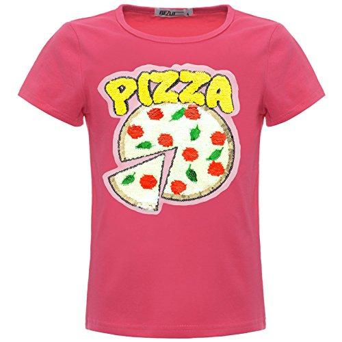 BEZLIT Mädchen Kinder Wende-Pailletten Pizza T-Shirt Outfit 22536 Pink Größe 140