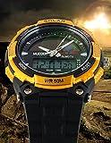 Männer Sport Solarstrom 50M Wasserdicht Outdoor LCD Bewegung Einsatzuhr Gold - 2