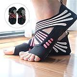 Lacyie Frauen rutschfeste Yoga Socken, Baumwolle Hälfte Fuß five-toe Grip Anti-rutsch Yoga Pilates Socken Sohle Schuhe für Fitness Dance, Pink 37/38
