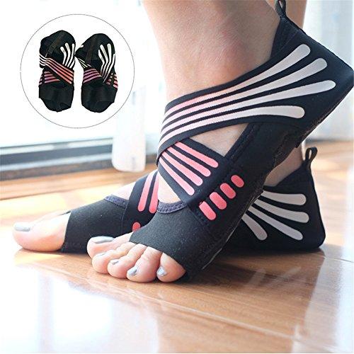 Lacyie rutschfeste Yoga-Socken für Damen, aus Baumwolle, halbe Zehe, Fünf-Zehen-Grip, rutschfest, Yoga, Pilates-Socken, Schuhe für Fitness, Tanzen, Pink 37/38