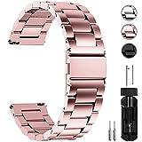 Fullmosa Edelstahlarmband für Uhr,Metall Uhrenarmbänder mit Schnellverschluss Geeignet für Damen&Herren, 22mm Roségold