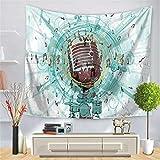 MENGMENGDA Weiß Blau Tapisserie 3D Musik Symbol Druck Wandbehang Dekoration Picknick Matte Bettlaken Badetuch Schlafzimmer Wohnzimmer Schlafsaal Home Decoration, 150 * 200 cm