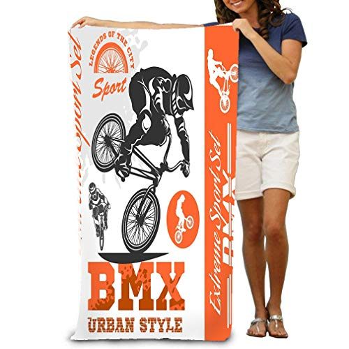 Xunulyn Unisex Beach Towels Bath Towels for Teen Girls Adults Travel Towel Washcloth 31x51 Inches BMX Extreme Bike Street Style BMX cyclyst White -