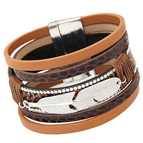 Oyedens Armband, Feder-Design, einfarbig, Leder, mehrreihig, mit Anhängern, magnetisches Armband, Farbe: Kaffee (Justin Kaffee Damen)