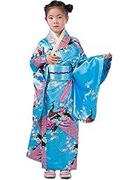 YL Niñas Pavo Real Flores Fotografía Espectáculo Imitación de Seda Quimono Estampado Kimono Japonés Azul Celeste