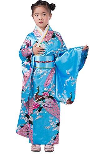 Yue Lian Mädchen Blumen & Pfau Kimono mit Obi-Gürtel