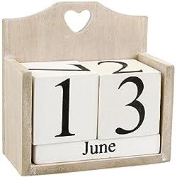 Kalender Dekoration Dauerkalender shabby Chic Vintage Ewiger Tischkalender