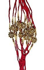 Idea Regalo - St@llion, braccialetto Rakhi rosso con perline a forma di cerchio Raksha Bandhan, filo di pietra Kundan Rakhi, 1 pezzi