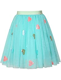 Girls Skirt Blue Heart Sequins Sparkling Tutu Dancing Age 2-12 Years