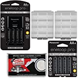 Panasonic Eneloop Pro (4) AA 2550mAh Pre-Charged NiMH Rechargeable Batteries & Charger + (4) Extra AA Batteries + (2) Battery Cases Kit