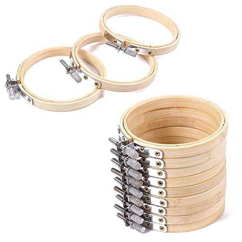 AOLVO 12 Stück 7,6 cm Runde Holz-Stickerei-Ringe Groß Verstellbar Bambus Kreis Kreis Ring für Kunst Handwerk Handwerk Handliche Nähen (Holz Kreis 12x12)