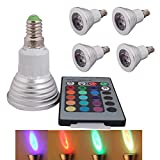 4 Stück E14 3W LED RGB Lampe Birne & Leuchtmittel SMD LEDs LED farbwechsel Licht Leuchtmittel mit IR-Fernbedienung (180lm, AC 85 - 265V, 50 x 78mm) - multicolor dimmbar inklusive Infrarot - Ferbedienu