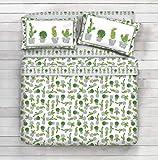 Completo lenzuola 100% cotone - disegno Sun cactus (Grigio, 1 Piazza)