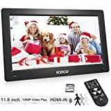 Digitaler Bilderrahmen 11.6 Zoll, OUTAD HD 1920*1080P IPS LCD Display mit Bewegungssensor/Kalender/Uhr Funktion, Foto/Video/Musik Player, Auto on/Off Timer, mit Fernbedienung 8G SD Karte