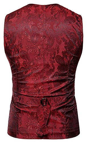 Whatlees Herren Schmale Weste aus strukturiertem Material in Versch.Farben B933-Red