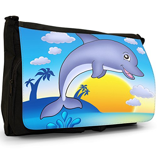 Fancy A Bag Borsa Messenger nero Green Turtle Snorkelling in Sea Smiling Dolphin Jumping Out of Water