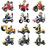 Minifigures Lego-Compatible Set - 12pcs Building Toy Bricks Construction Vehicles With Compatible Minifigures For Kids Party Favors