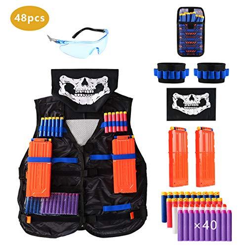 Locisne Kinder Dschungel Taktische Weste Jacke Kit für Nerf Spielzeugpistole N-Strike Elite-Serie (w/40 Schaum Darts+Schutzbrille+Gesichtsmaske+2 Reload Clip+2 Armband+Dart Bag)