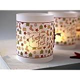 Set 6 x Lichthülle für Tischlicht Weihnachten Advent für Teelicht oder LED Weihnachtsdeko handmade