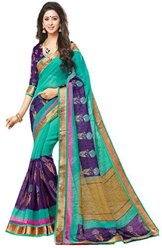 Miraan Women's Linen Saree With Blouse Piece (SRH841_Green_One Size)