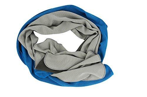 JCJ 2Pack Endura Cool techknit Kühlendes Handtuch, Sport Handtuch, 101,6x 30,5cm Snap Kühlendes Handtuch, für Sport, Workout, Fitness, Fitness, Yoga, Pilates, Reisen, Camping & Mehr, Grau/Blau -