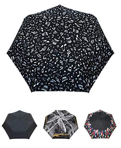 Smati ombrello pieghevole - musica - open & close - antivento - ultra robusto - 6 costole in alluminio e fibra di vetro